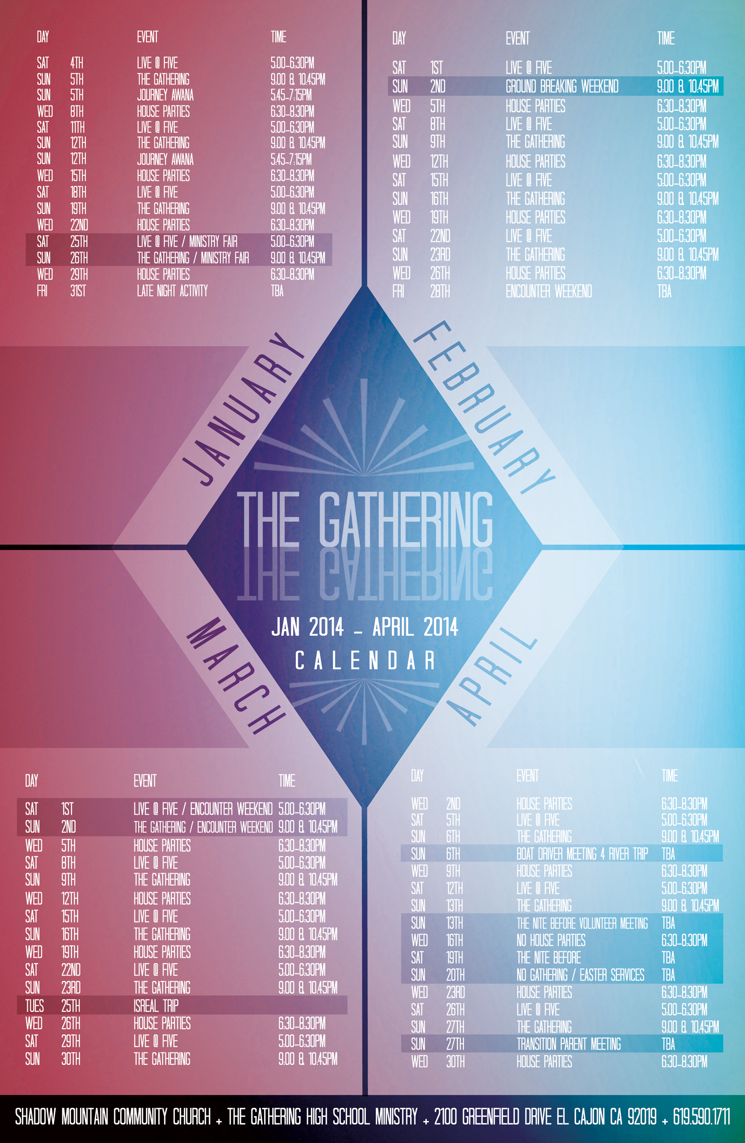 Church Calendar Design.Shadow Mountain Community Church High School Calendar Nogo Design